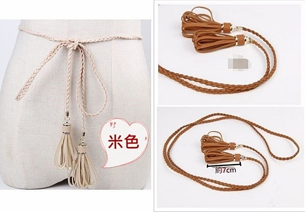 來福皮帶,H722腰繩皮質麻花編織花苞流蘇造型腰帶皮帶腰鏈,售價168元