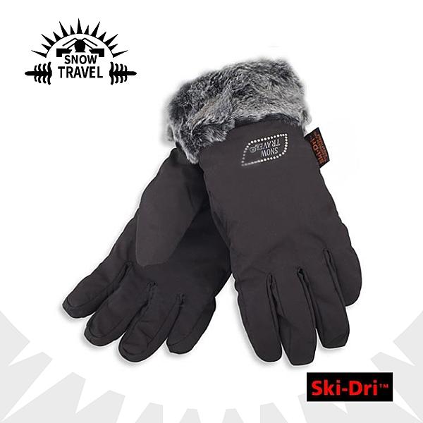 【SNOW TRAVEL SKI-DRI防水透氣水鑽手套《黑》】AR-56/防水透氣/保暖手套/出國旅行/賞雪