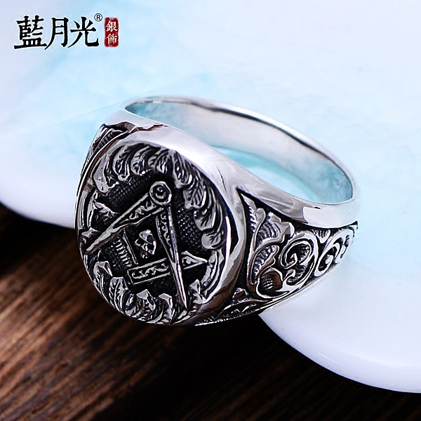 [超豐國際] 925銀飾品復古泰銀骷髏頭火焰銀戒指韓版潮流男