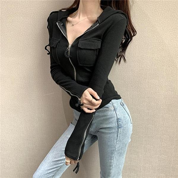 韓版連帽長袖小外套短款衛衣拉鏈修身百搭上衣打底衫女裝 亞斯藍
