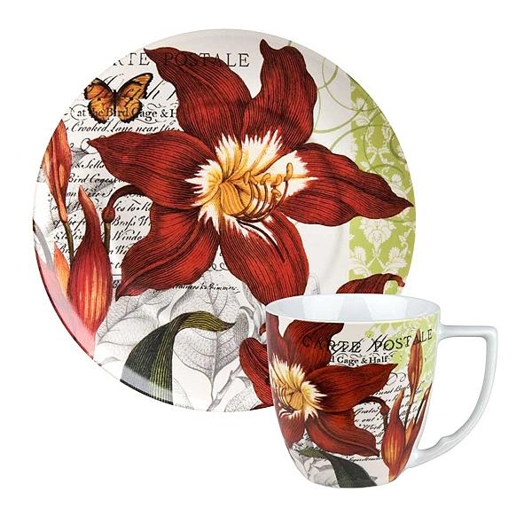 德國Waechtersbach經典彩繪系列390ml馬克杯+21cm盤組-Traditions紅花
