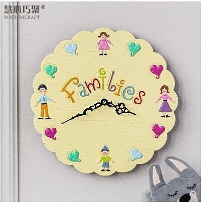 【衫衫來時】客廳創意家用鐘錶兒童臥室個性靜音時尚時鐘【淺黃色】