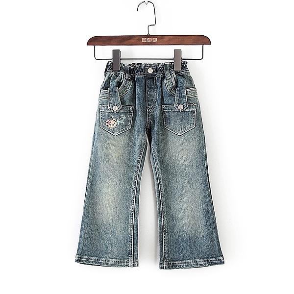 [超豐國際]巴春夏裝女童藍色牛仔寬松喇叭褲子 43522(1入)