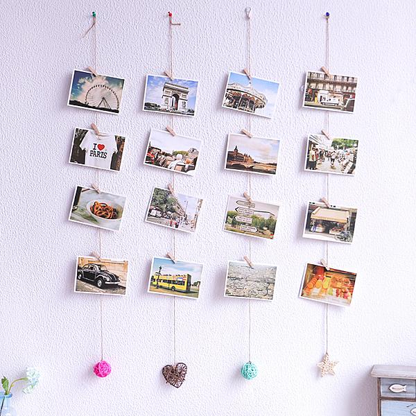 複古個性明信片牆面裝飾麻繩夾子藤球DIY店鋪家居壁飾掛飾照片牆─預購CH2111
