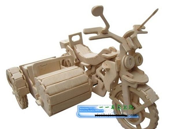 【協貿國際】diy木質拼圖3d立體兒童拼裝三輪摩托車(2入)
