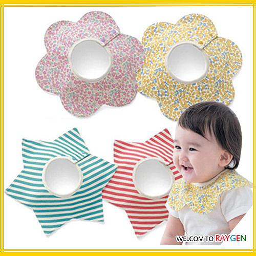 圍兜 嬰兒星星花朵造型碎花防水圍嘴 口水巾
