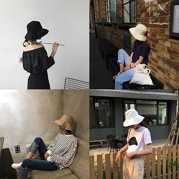 [超豐國際]簡約百搭防曬漁夫帽女文藝遮臉帽子夏季戶外純色盆帽1入