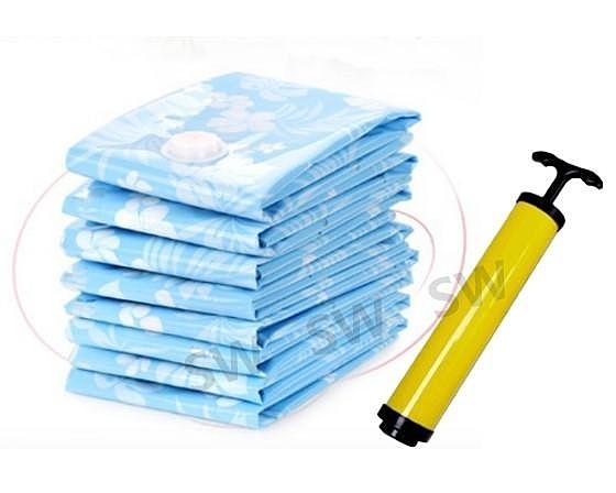 BC010 市場最厚產品 真空收納袋11件組送抽氣泵 藍色 0.12mm真空壓縮袋 壓縮袋 衣物收納 防塵袋