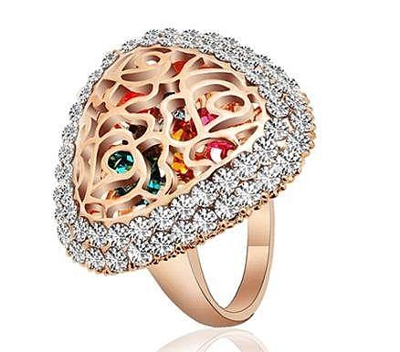 三角形滿鑽彩鑽個性鏤空設計 食指潮人時尚創意碎鑽戒指女