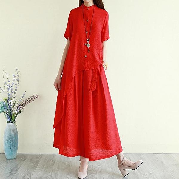 降價兩天 民族風套裝-民族風女裝 夏季寬鬆襯衫 休閒闊腿褲裙