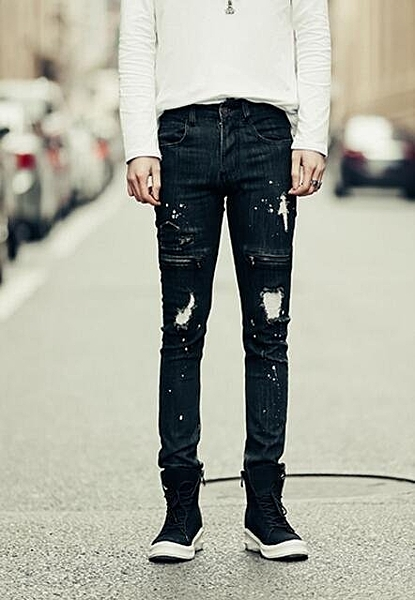FINDSENSE品牌 男 時尚 街頭 潮 破洞 褶皺感 拉鏈塗漆 牛仔褲 九分