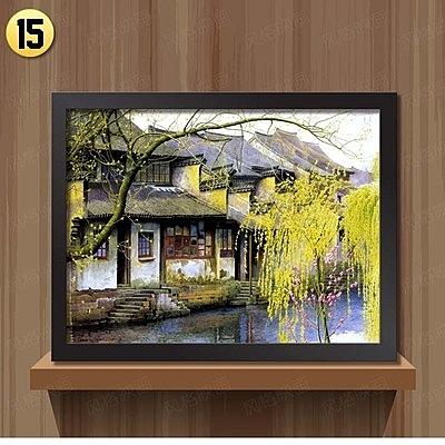 [銀聯網] 江南水鄉風景裝飾畫客廳現代中式掛畫(黑框) 1入