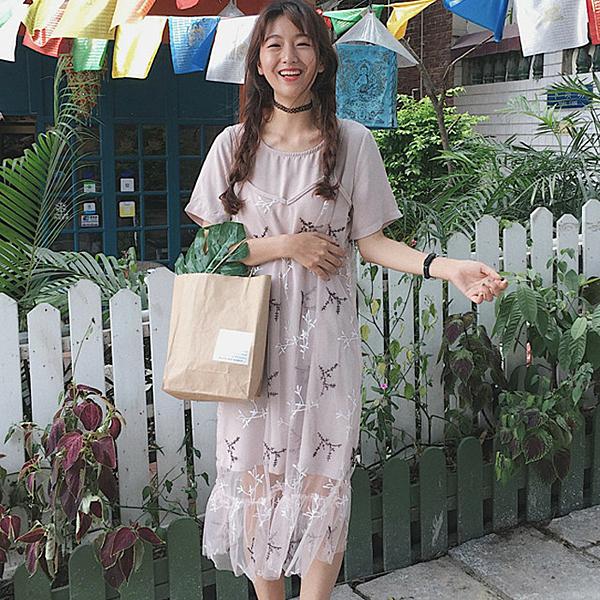[超豐國際]刺繡小清新短袖網紗雪紡連衣裙女夏中長款T恤裙兩件1入