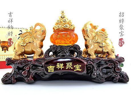 聚寶盆工藝品大象擺件吉祥平安