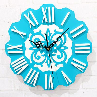 歐洲地中海風格立體字體歐式掛鐘(天藍色36CM)