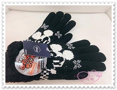 ♥小花花日本精品♥《Disney》迪士尼 米奇 手套 保暖手套 黑色 大臉 雪花 冬天必備 禦寒 88606101
