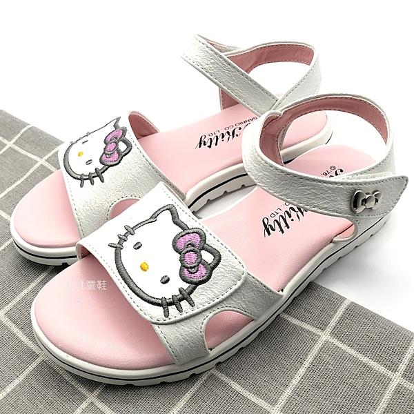 《7+1童鞋》HELLO KITTY 魔鬼氈 休閒涼鞋 公主涼鞋 E116  白色