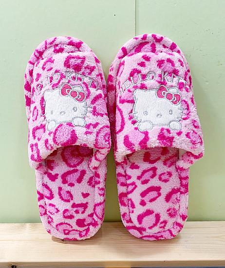 【震撼精品百貨】Hello Kitty 凱蒂貓~三麗鷗 Hello kitty 室內拖鞋~粉色豹紋#20346