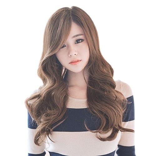 整頂假髮(長髮)-旁分大波浪捲髮仿真女假髮73vs22【巴黎精品】
