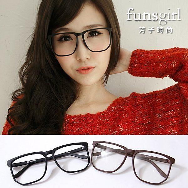 文青。知性氣質款修飾臉型方框眼鏡-2色~funsgirl芳子時尚
