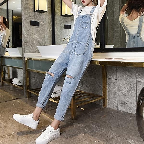 FINDSENSE G6 2019 韓國潮流 新款時尚 春夏新款牛仔背帶褲寬鬆顯