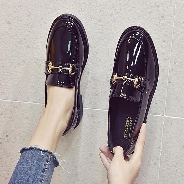 英倫風小皮鞋女鞋子夏季新款潮鞋百搭黑色豆豆平底單鞋女秋款