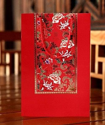 【協貿國際】花開富貴中式婚慶喜糖袋大號手提袋(4入)