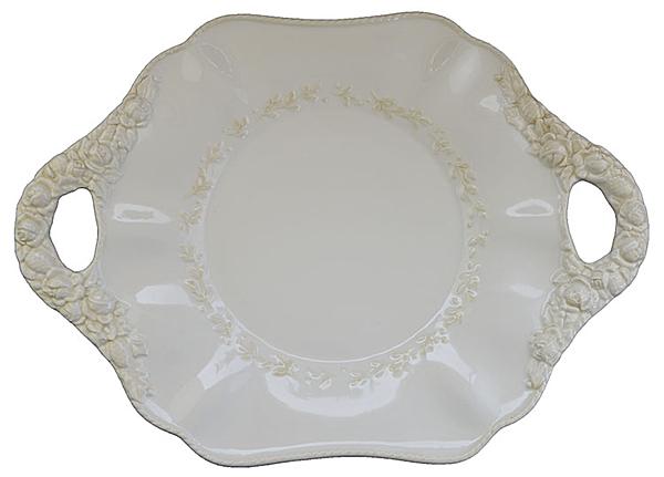 義大利VBC Casa 限量手浮雕X美國白宮御用品牌 花邊把手盤(42x29cm/H3)
