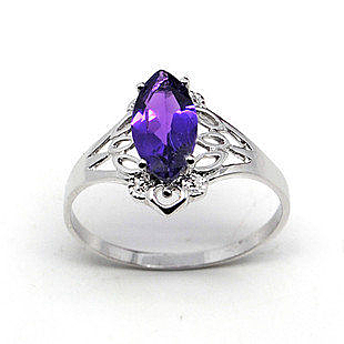 銀天然紫水晶 戒指