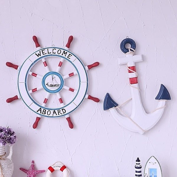 地中海風格家居裝飾品航海舵手掛件木質船舵擺件船舵壁飾掛件(62cm+60cm)─預購CH2275