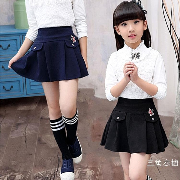 童裝秋裝女童半身裙夏季裝款2020新品中大童兒童短裙百褶裙黑色褲裙