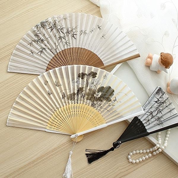 扇子 古風水墨折扇女式扇子中國風禮品折疊扇漢服旗袍舞蹈扇 店慶降價