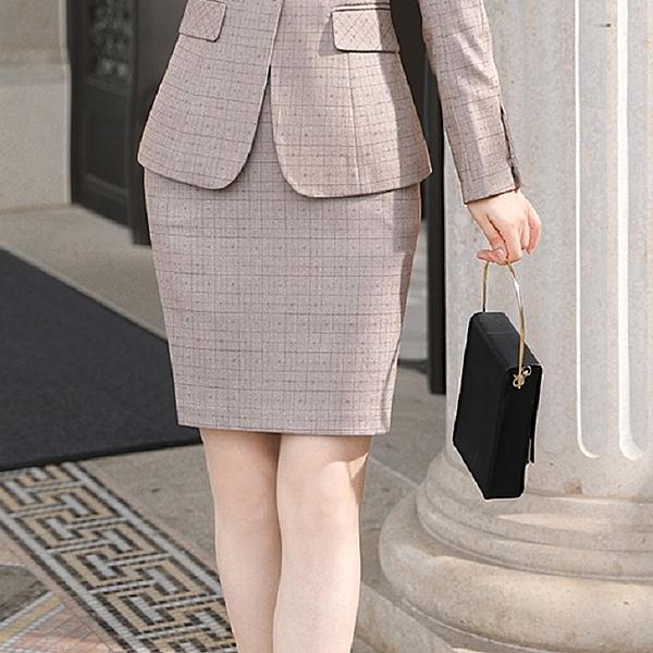 細格紋顯瘦OL上班搭配窄裙短裙[9X458-PF]美之札