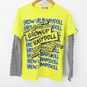 【中古】ベビードール BABYDOLL 長袖 カットソー Tシャツ レイヤード 160 イエロー 黄系 綿 コットン ストレッチ