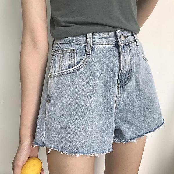 [超豐國際]夏季女裝高腰顯瘦毛邊牛仔短褲寬松百搭牛仔褲闊腿褲1入