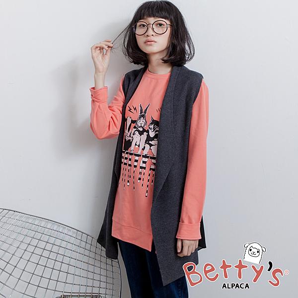betty's貝蒂思 後下擺雪紡拼接無袖針織背心(深灰)