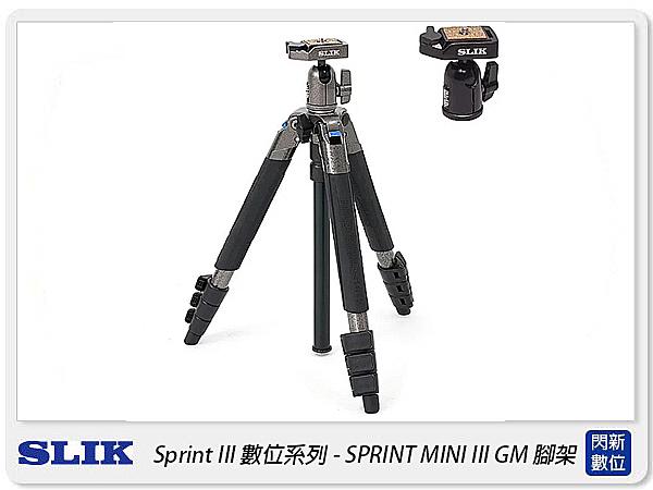 SLIK SPRINT MINI III GM 三腳架 SBH-100DQ 雲台 鐵灰(MINI3,公司貨)
