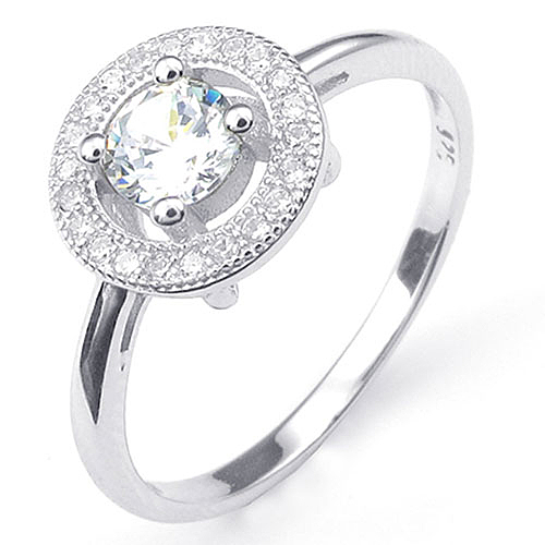 《 QBOX 》FASHION 飾品【R10024936】精緻唯美圓形鋯石鑲鑽925銀K戒指/戒環