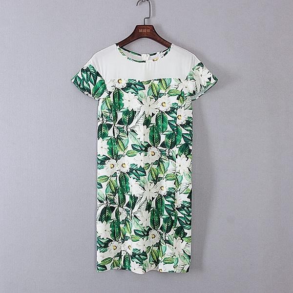 [超豐國際]麥春夏裝女裝綠色印花小飛袖優雅連衣裙 44284(1入)