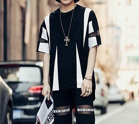 FINDSENSE品牌 男 時尚 街頭 潮 幾何拼接拼布圖案 網紗拼接 寬鬆 短