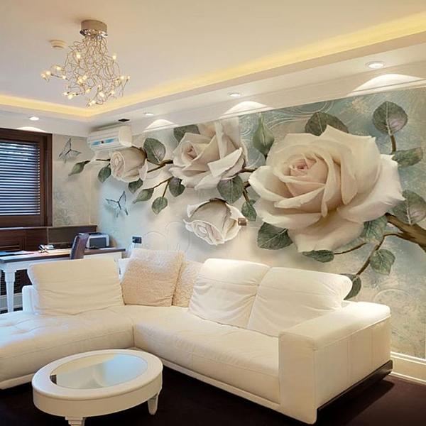 3D電視背景牆壁紙簡約現代客廳大氣影視牆裝飾5d立體凹凸花卉壁畫 NMS快意購物網