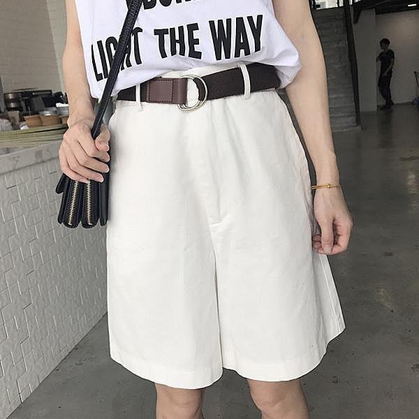 [超豐國際]夏季寬松顯瘦闊腿褲女短褲百搭高腰五分休閑褲女褲子1入