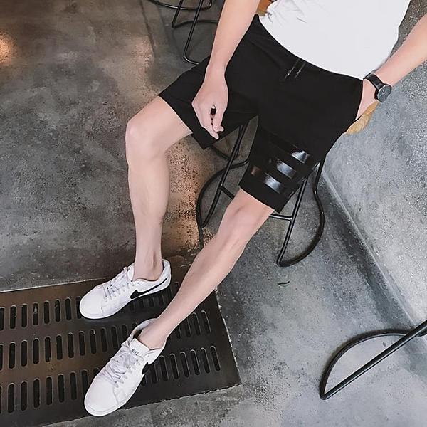 [超豐國際]夏季運動短褲 男士休閑五分褲夏天修身5分中褲子青1入