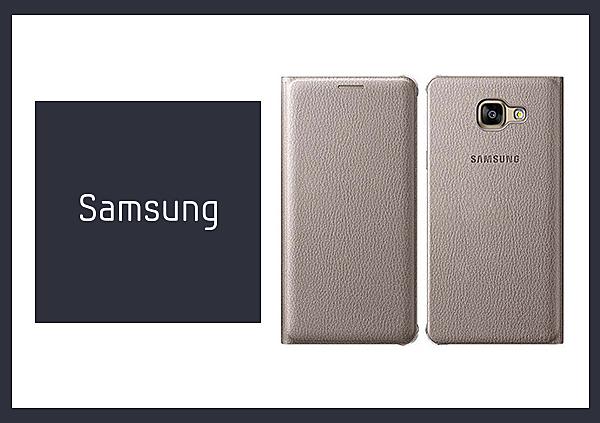 SAMSUNG GALAXY A5 (2016) 原廠書本式皮套 - 金色