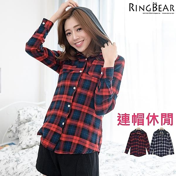 質感襯衫--率性潮流玩色百搭款可拆式連帽配色口袋經典格紋襯衫(黑.紅XL-4L)-I163眼圈熊中大尺碼