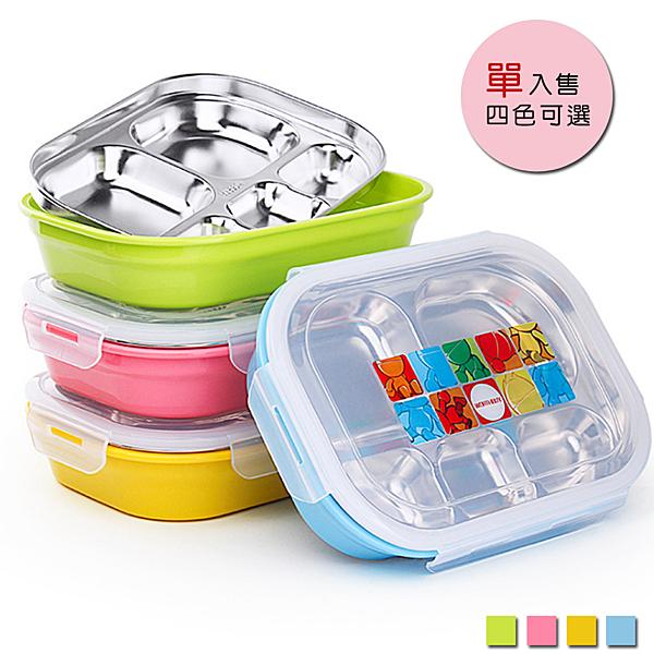 PUSH! 餐具用品304不銹鋼保溫飯盒便當盒防燙餐盤盒(成人小孩5格款)E88