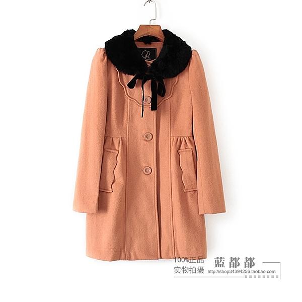 [超豐國際]拉冬裝女裝橘色毛領系帶韓版保暖外套 26053(1入)