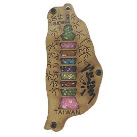 【收藏天地】台灣紀念品*寶島造型木質冰箱貼-台北大樓
