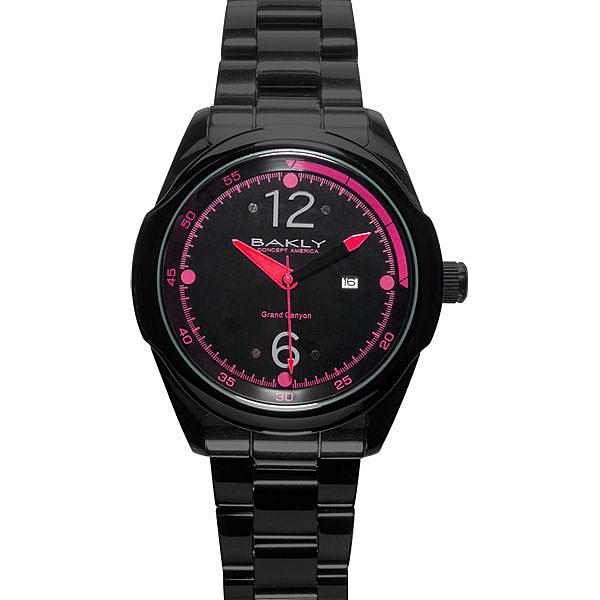 BAKLY 重裝系列爭鋒時刻玻麗腕錶-桃紅