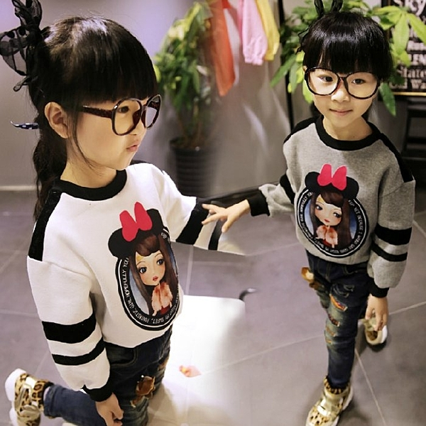 韓版《甜美小女孩》羊羔絨長袖上衣